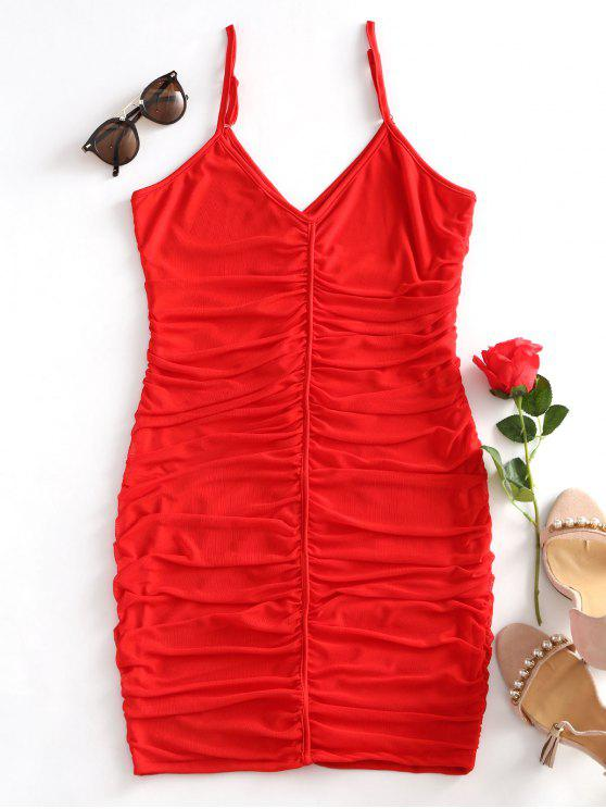 women's Ruched Mesh Bodycon Cami Dress - RED L