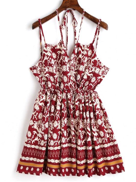 Bedrucktes Mini Slip Kleid - Weinrot L