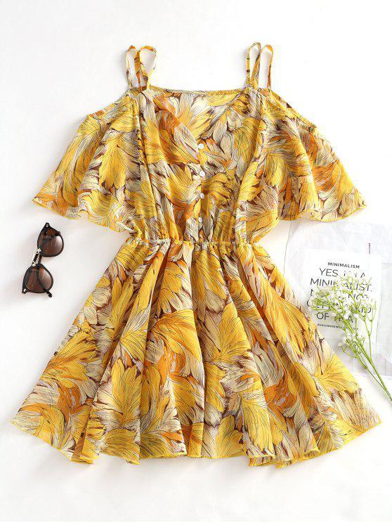 Blätter Drucken A Linie Cami Kleid - Gelb L