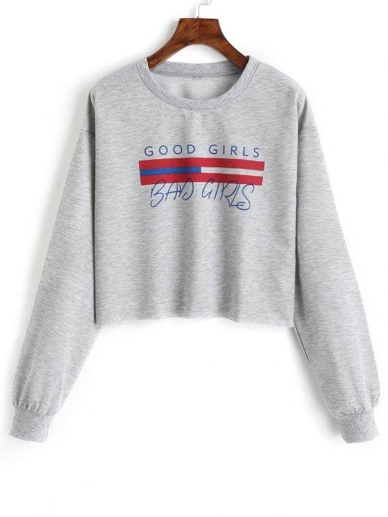 Mädchen Grafik Geschnittenes Sweatshirt - Grau XL