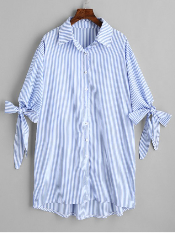6f64db881ea 29% OFF  2019 Longline High Low Stripes Shirt In STRIPE