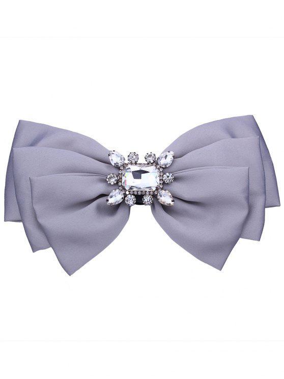 Fals Crystal Embellished Fabric Bowknot Brooch - Cinza