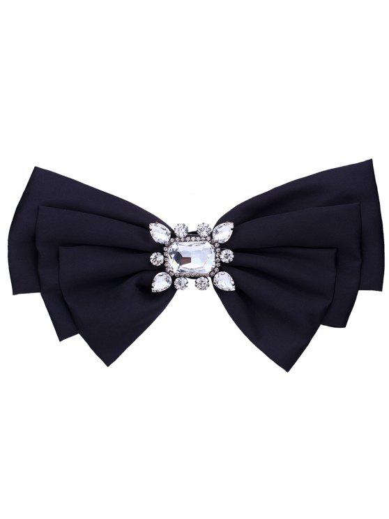 outfit Faux Crystal Embellished Fabric Bowknot Brooch - BLACK