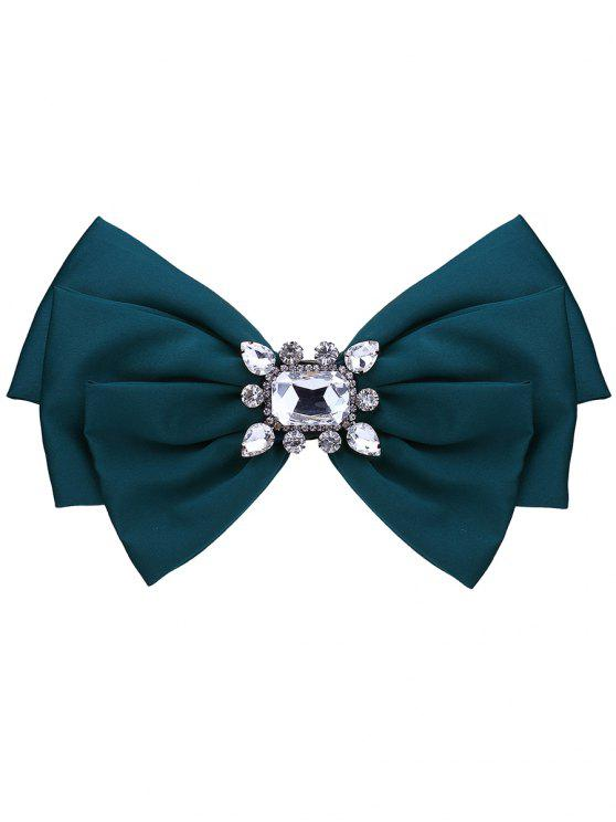 outfits Faux Crystal Embellished Fabric Bowknot Brooch - DARK GREEN