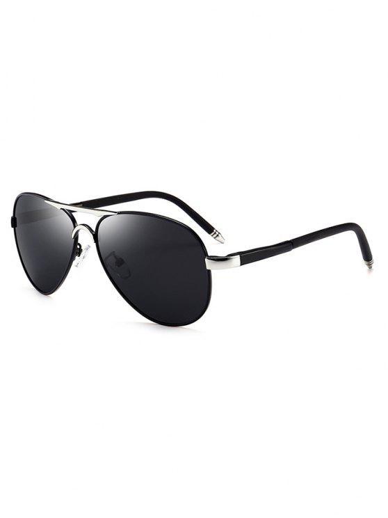 shops Metal Full Frame Crossbar Pilot Sunglasses - GUN GREY FRAME + GREY LENS