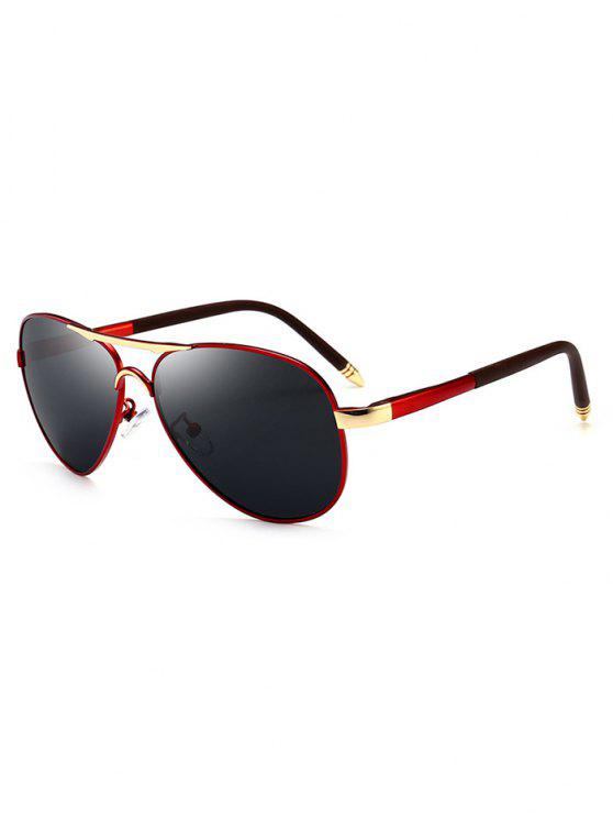 trendy Metal Full Frame Crossbar Pilot Sunglasses - RED-GRAY