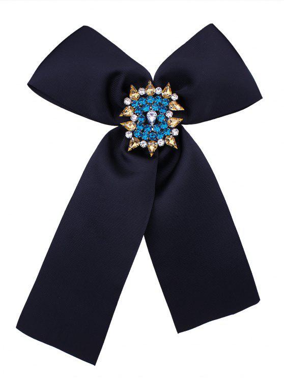 Broche en Forme de Nœud Orné de Diamant pour Corsage - Noir