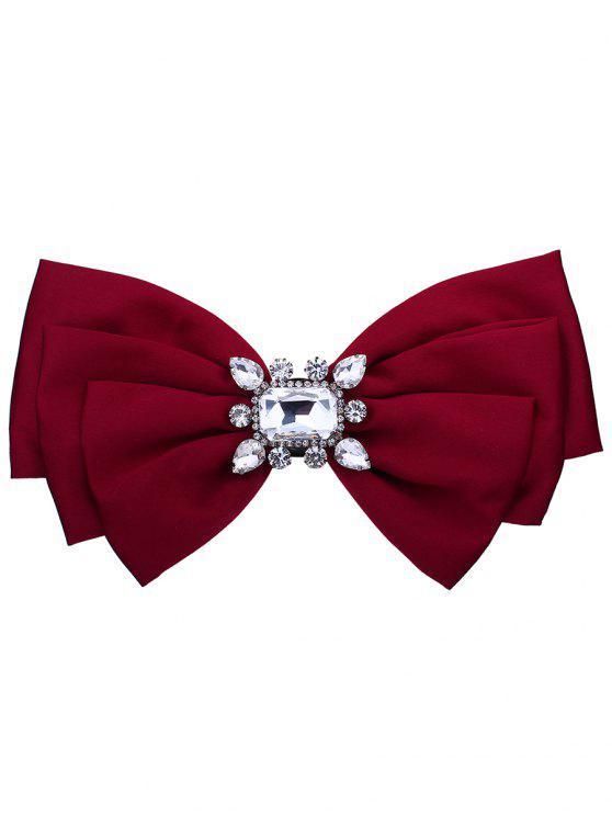 Broche bowknot en tissu orné de faux cristaux - Rouge Clair