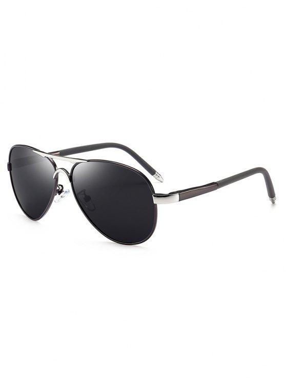 chic Metal Full Frame Crossbar Pilot Sunglasses - BRIGHT BLACK+GREY