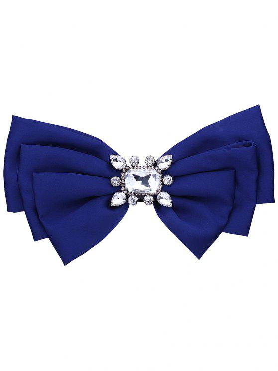 Fals Crystal Embellished Fabric Bowknot Brooch - Real