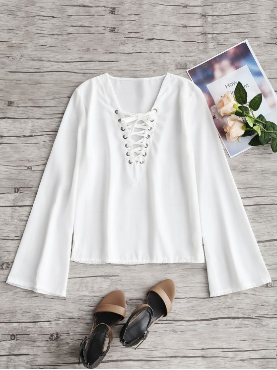 Manga Flared Lace Up Top - Branco L