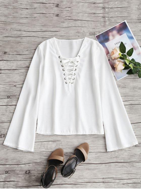 Ausgestellte Ärmel Lace Up Top - Weiß XL