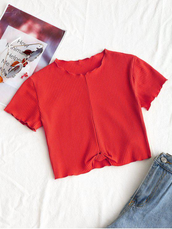 Cropped Ribbed Drapiertes Oberteil - Rot S