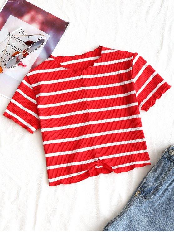 Top drapeado con costuras recortadas - Rojo+Blanco S