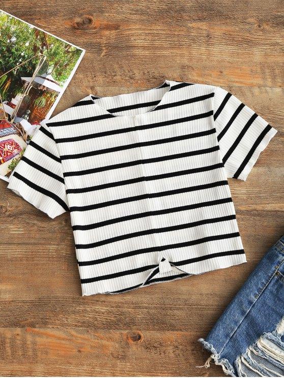 Top drapeado con costuras recortadas - Blanco y Negro M