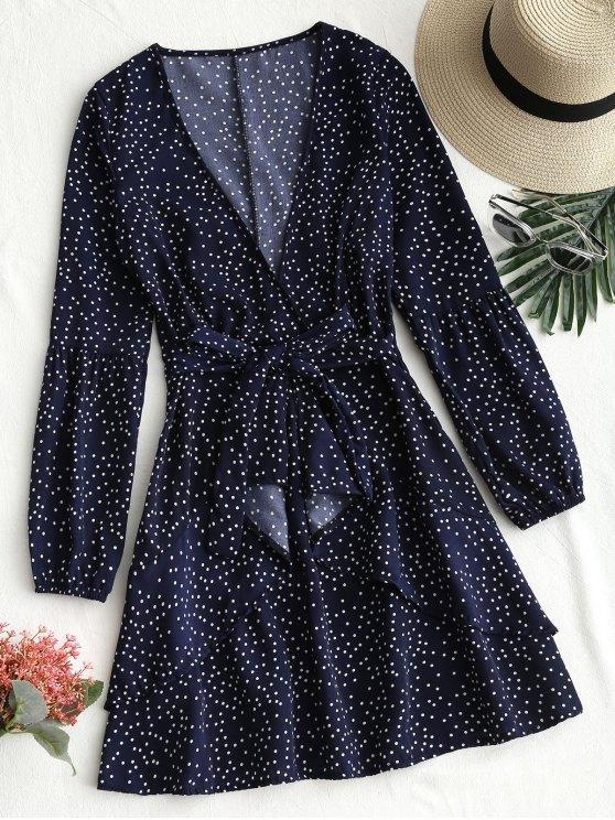 shop Belted Polka Dot Ruffle Mini Dress - PURPLISH BLUE M