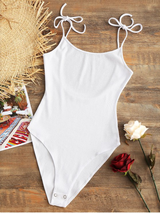 latest Cami Ribbed Open Back Bodysuit - WHITE ONE SIZE