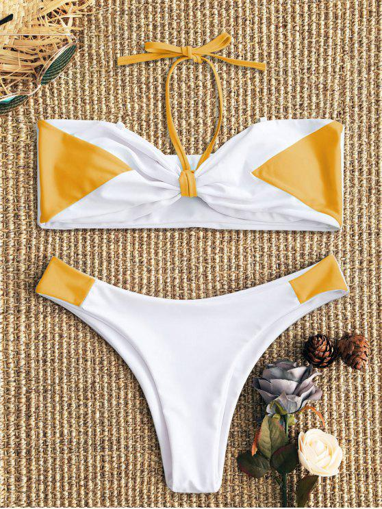 outfits Two Tone Bandeau Bikini Set - WHITE AND YELLOW S
