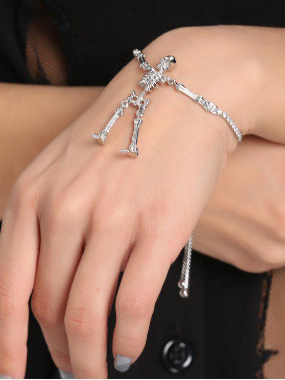 Strass Skelett Bolo Armband - Silber