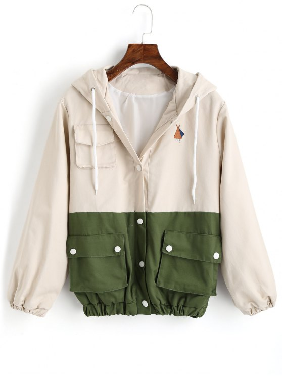 sale Snap Button Hooded Two Tone Jacket - LIGHT APRICOT S