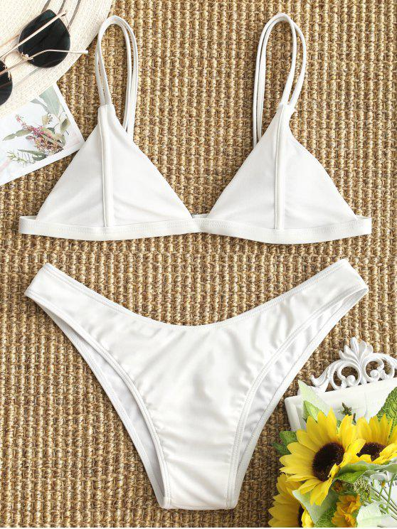 trendy Cami High Cut Thong Bikini Set - WHITE S