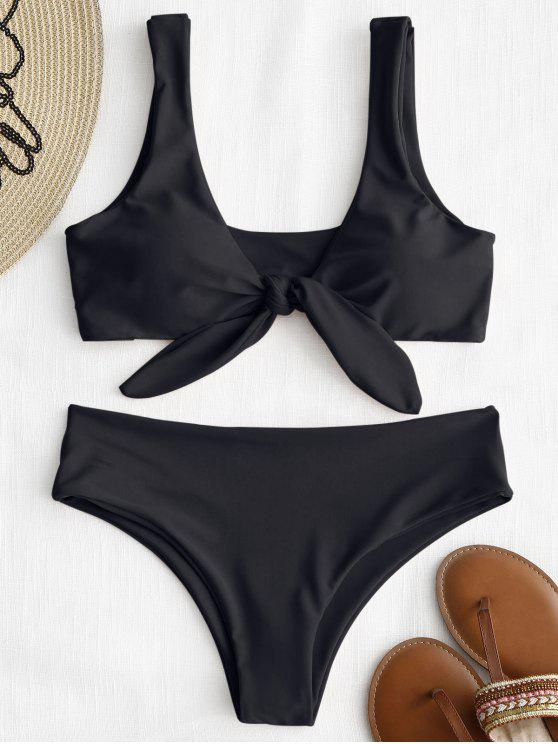 fancy ZAFUL Tie Front Padded Bikini Set - BLACK M