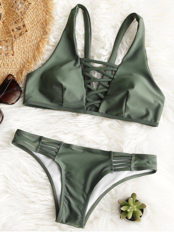hot Padded Lattice Front Bathing Suit - ARMY GREEN S