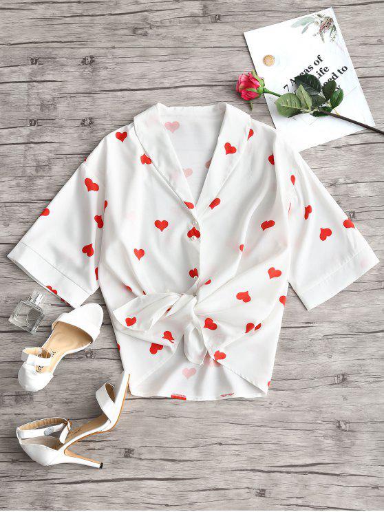Blusa con estampado de corazones y cuello chal - Blanco L
