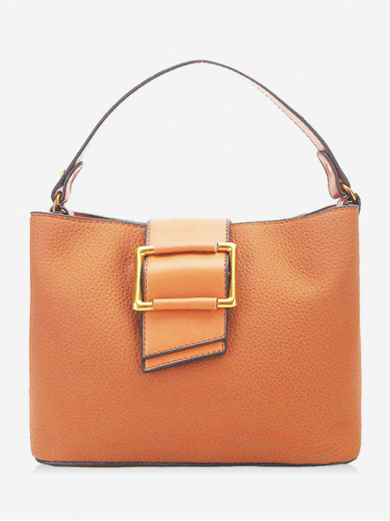 Bolsa Faux Leather Buckled - Castanha