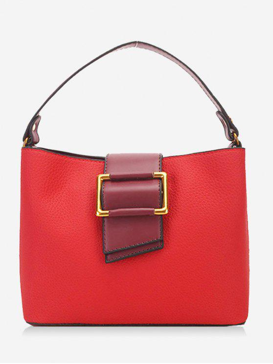 ladies Faux Leather Buckled Handbag - RED