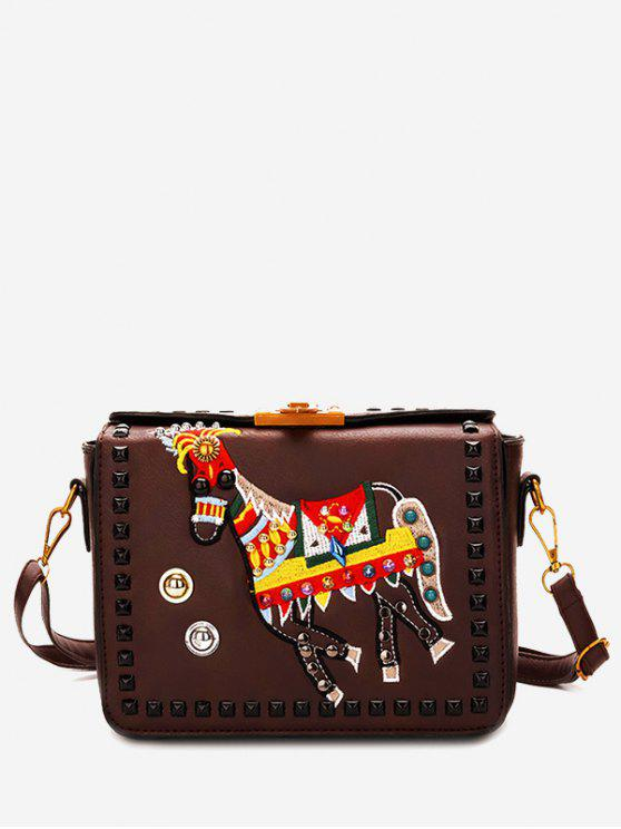 fashion Faux Leather Studded Crossbody Bag - BROWN