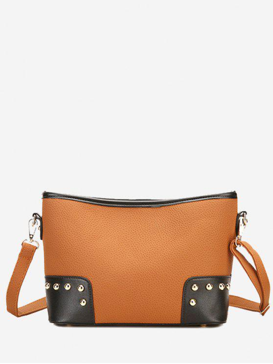 sale Contrasting Color Shopping Crossbody Bag - BROWN