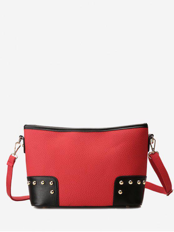 حقيبة كروسبودي بتفاصيل معدنية - أحمر