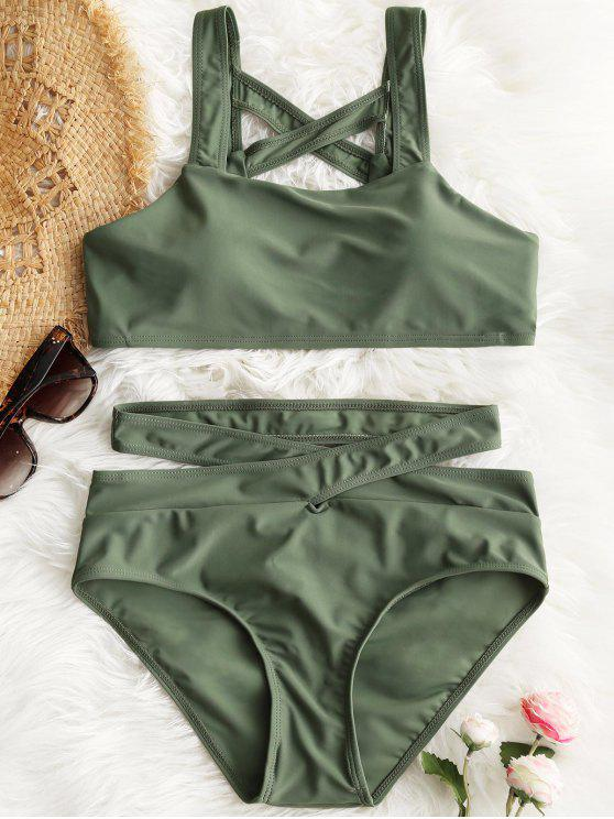 ladies Padded Lattice Back Bandage Bikini Set - ARMY GREEN M
