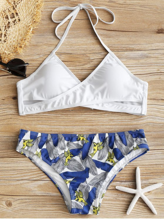 outfit Halter Crossover Leaf Print Bikini Set - WHITE M
