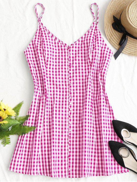 فستان مصغر منقوش تصميم الزر - وردي بنفسجي M
