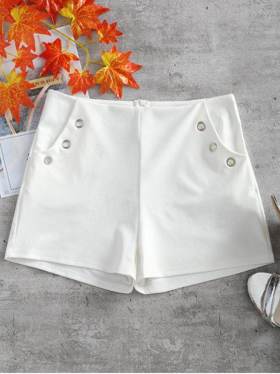 Metal Ring Embellished Pockets Shorts - Branco L
