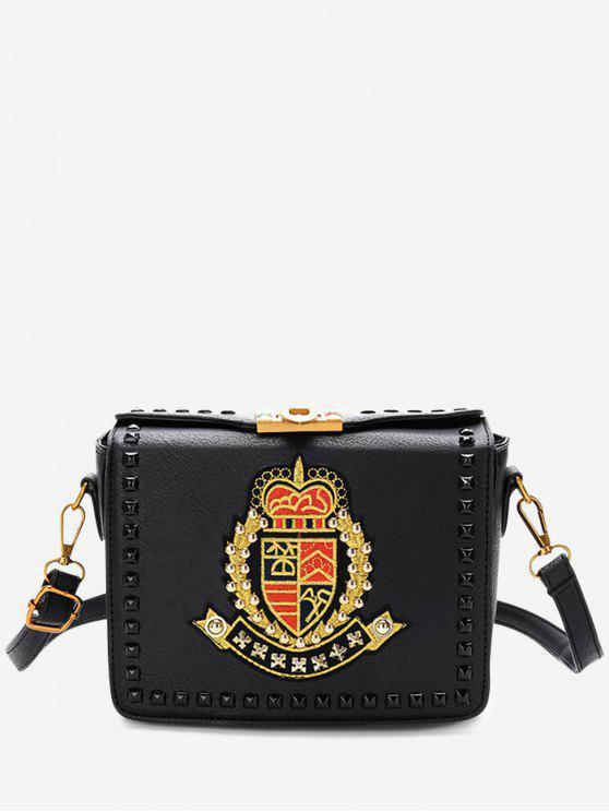 حقيبة كروسبودي مطرزة - أسود