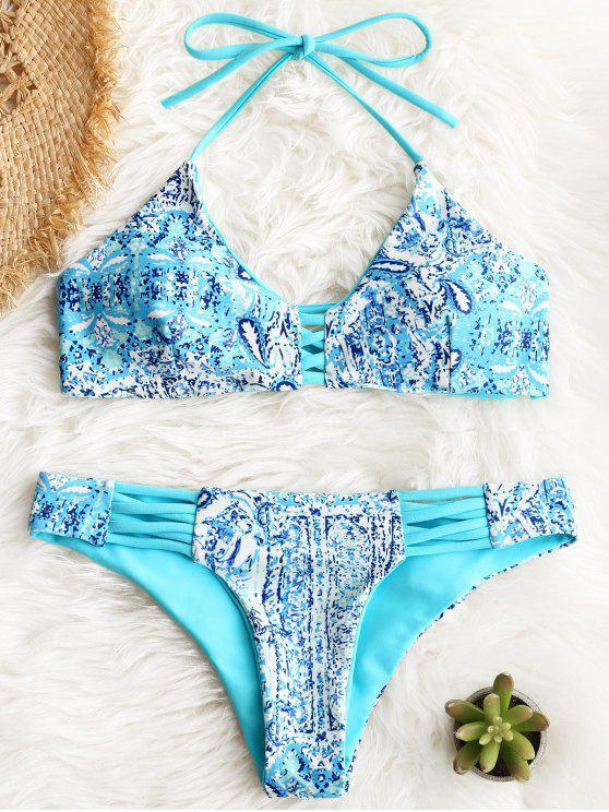 Conjunto de bikini estampado entrecruzado halter - rosáceo azul L