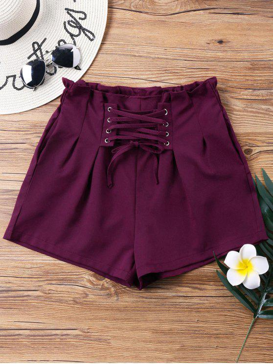 ladies High Waist Lace Up Shorts - WINE RED XL