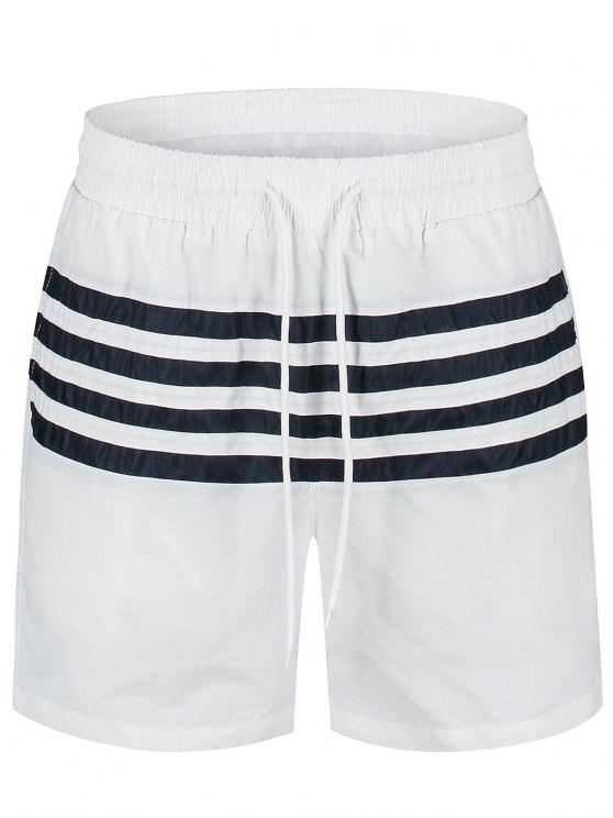 new Striped Beach Board Shorts - WHITE XL