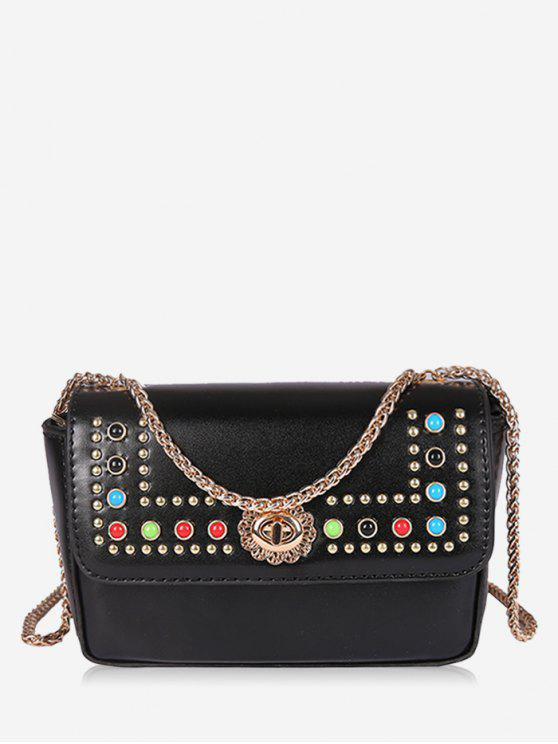 hot Flapped Studs Crossbody Bag - BLACK