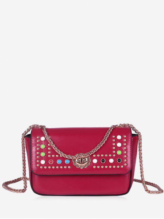 حقيبة كروسبودي مزينة بتفاصيل معدنية مع سلسلة - أحمر