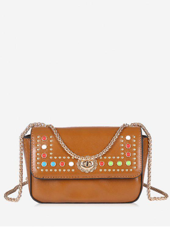 outfits Flapped Studs Crossbody Bag - BROWN