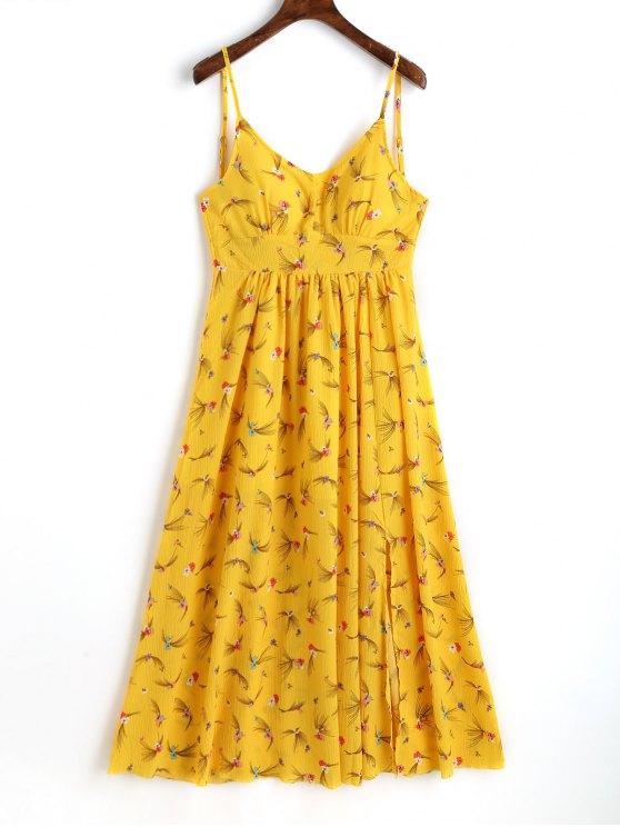 3a739fba94f76 32% OFF] 2019 Slit Printed Maxi Slip Dress In YELLOW   ZAFUL