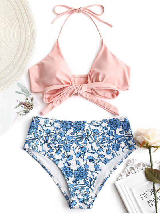 sale Wrap Bikini Top with Tiny Floral Bottoms - SHALLOW PINK M