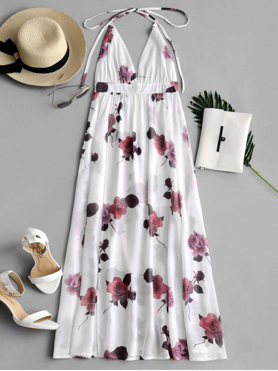 Backless Slit Floral Halter Dress WHITE