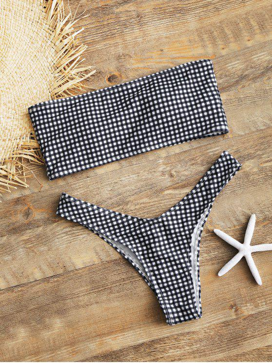 latest High Cut Plaid Bandeau Bikini Set - WHITE AND BLACK L