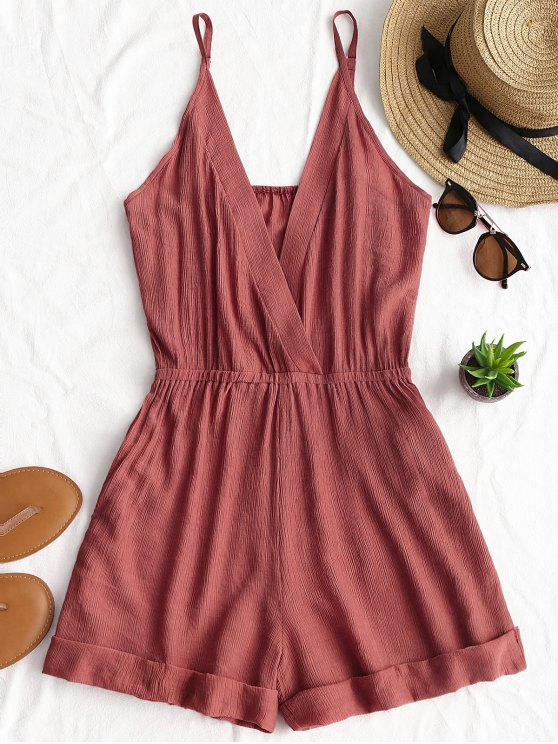 buy Rolled Up Hem Cross Front Romper - BRICK-RED M