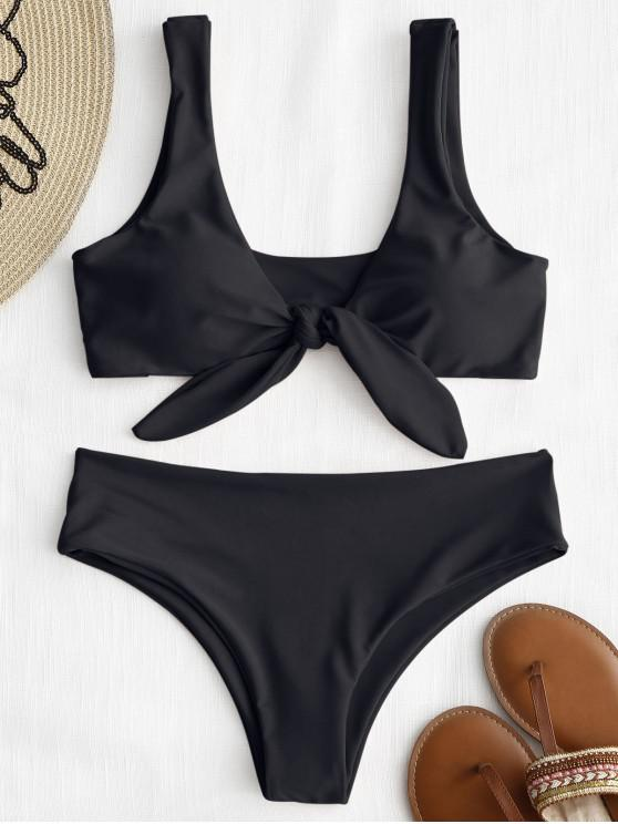 fashion ZAFUL Tie Front Padded Bikini Set - BLACK L